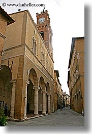 alleys, bell towers, clock tower, clocks, europe, italy, pienza, streets, towns, tuscany, vertical, photograph