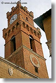 bell towers, clock tower, clocks, europe, italy, pienza, sundial, towns, tuscany, vertical, photograph