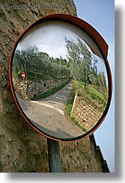 alleys, europe, fisheye, italy, mirrors, pienza, reflections, roads, towns, tuscany, vertical, photograph