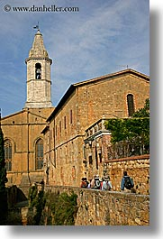 churches, europe, groups, italy, people, pienza, tourists, towns, tuscany, vertical, walking, photograph