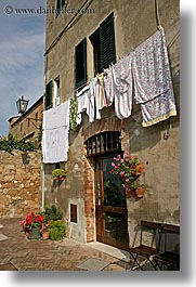 europe, hangings, italy, laundry, pienza, towns, tuscany, vertical, photograph