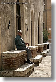 cane, europe, italy, men, old, old man, pienza, sitting, towns, tuscany, vertical, photograph