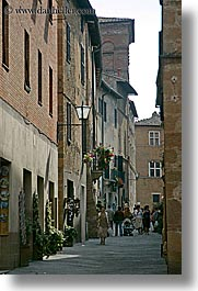 europe, italy, narrow streets, people, pienza, streets, towns, tuscany, vertical, walking, photograph