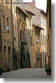 europe, italy, narrow streets, pienza, streets, towns, tuscany, vertical, photograph