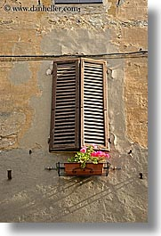 europe, flowers, italy, pienza, plants, towns, tuscany, vertical, windows, photograph