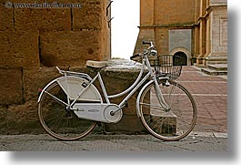 bicycles, europe, horizontal, italy, pienza, towns, tuscany, white, photograph