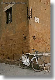 bicycles, europe, italy, pienza, towns, tuscany, vertical, white, photograph