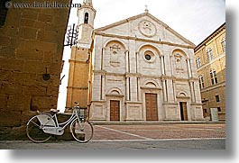 bell towers, bicycles, churches, europe, horizontal, italy, pienza, religious, towns, tuscany, white, photograph