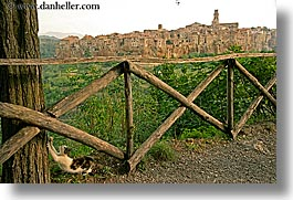 cats, cities, cityscapes, europe, fences, horizontal, italy, old, pitigliano, towns, tuscany, photograph