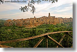 cities, cityscapes, europe, fences, horizontal, italy, old, pitigliano, towns, tuscany, photograph