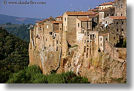 cities, cityscapes, europe, horizontal, italy, old, pitigliano, towns, tuscany, walls, photograph