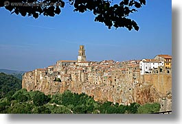branches, cities, cityscapes, europe, horizontal, italy, leaves, old, pitigliano, towns, tuscany, photograph