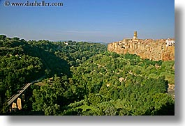 bridge, cities, cityscapes, europe, horizontal, italy, old, pitigliano, towns, tuscany, valley, photograph