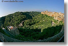 cities, cityscapes, europe, fisheye, fisheye lens, horizontal, italy, old, pitigliano, towns, tuscany, valley, photograph