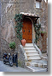 doors, europe, flowers, italy, ivy, pitigliano, stairs, towns, tuscany, vertical, photograph