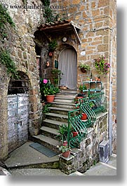 doors, europe, flowers, italy, pitigliano, stairs, towns, tuscany, vertical, photograph