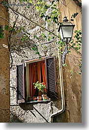 europe, flowers, italy, pitigliano, towns, tuscany, vertical, windows, photograph