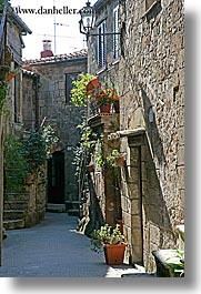 europe, flowers, hangings, italy, pitigliano, towns, tuscany, vertical, photograph