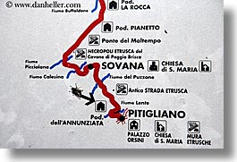 europe, horizontal, italy, map, pitigliano, signs, towns, tuscany, photograph