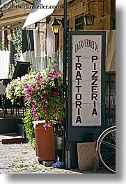 europe, flowers, italy, pitigliano, pizzeria, signs, towns, tuscany, vertical, photograph