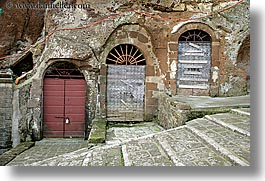 doors, europe, horizontal, italy, pitigliano, stairs, threes, towns, tuscany, photograph