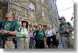 europe, horizontal, italy, looking, people, pitigliano, tourists, towns, tuscany, photograph