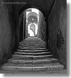 alleys, archways, black and white, cobblestones, europe, italy, narrow streets, pitigliano, stairs, streets, towns, tuscany, vertical, photograph