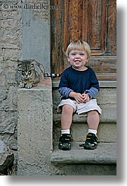babies, boys, cats, childrens, europe, italy, jacks, poderi di coiano, toddlers, towns, tuscany, vertical, photograph