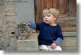 babies, boys, cats, childrens, europe, horizontal, italy, jacks, poderi di coiano, toddlers, towns, tuscany, photograph