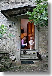babies, boys, cats, childrens, doors, europe, italy, jack and jill, mothers, poderi di coiano, toddlers, towns, trees, tuscany, vertical, womens, photograph
