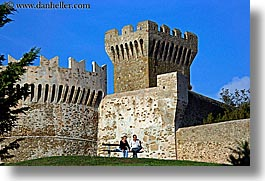 benches, castles, couples, europe, fortress, horizontal, italy, populonia, towns, tuscany, photograph