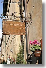 europe, flowers, italy, populonia, restaurants, signs, towns, tuscany, vertical, photograph