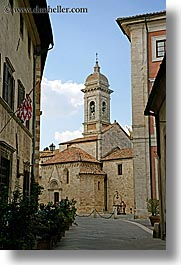 bell towers, churches, clocks, cobblestones, europe, italy, san quirico, stones, towns, tuscany, vertical, photograph