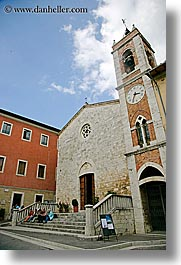 bell towers, churches, clocks, europe, italy, san quirico, stairs, stones, towns, tuscany, vertical, photograph