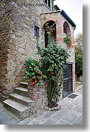 cobblestones, europe, flowers, houses, italy, san quirico, stairs, stones, towns, tuscany, vertical, photograph
