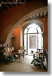 archways, bricks, entry, europe, hotels, italy, san quirico, towns, tuscany, vertical, photograph