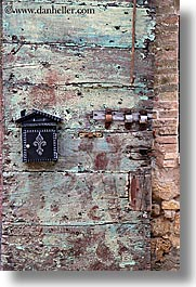 doors, europe, irons, italy, mailboxes, san quirico, towns, tuscany, vertical, woods, photograph