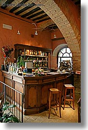 archways, bars, bricks, europe, italy, restaurants, san quirico, towns, tuscany, vertical, photograph