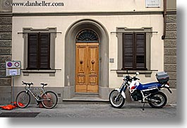 bicycles, doors, europe, horizontal, italy, motorcycles, scarperia, towns, tuscany, photograph