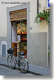 bicycles, europe, italy, scarperia, stores, towns, tuscany, vertical, photograph