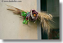 dried, europe, flowers, horizontal, italy, ornaments, scarperia, towns, tuscany, wheat, photograph