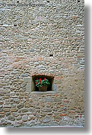 bricks, europe, flowers, italy, scarperia, stones, towns, tuscany, vertical, walls, photograph