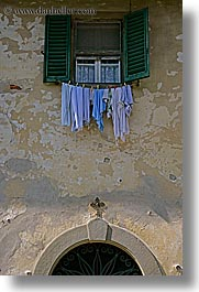clothes, europe, from, italy, laundry, scarperia, towns, tuscany, vertical, windows, photograph