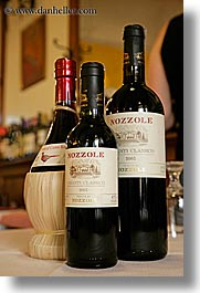 bottles, europe, italy, nossole, red wine, scarperia, towns, tuscany, vertical, wines, photograph