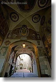 entryway, europe, fortress, italy, palace, scarperia, towns, tuscany, vertical, photograph