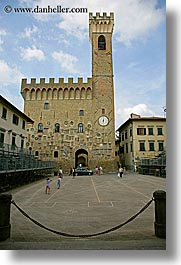 buildings, castles, europe, facades, fortress, italy, palace, scarperia, stones, towns, tuscany, vertical, photograph