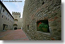 buildings, castles, europe, fortress, horizontal, interiors, italy, palace, scarperia, stones, towns, tuscany, photograph