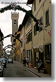 buildings, castles, europe, fortress, italy, palace, scarperia, stones, streets, towns, tuscany, vertical, photograph