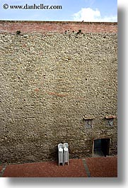 abstracts, chairs, europe, italy, scarperia, stacks, stones, towns, tuscany, vertical, photograph