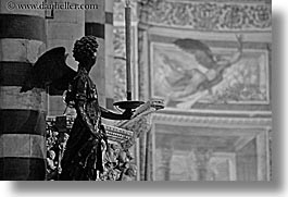 angels, black and white, churches, europe, horizontal, italy, pillars, religious, siena, statues, towns, tuscany, photograph